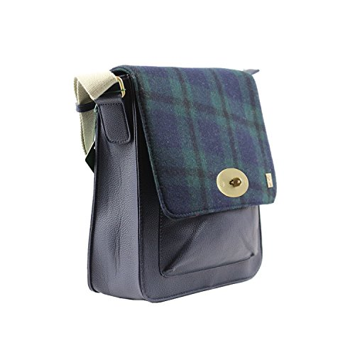 Tweed Check Messenger Blue Green Bag rwqnOTXr