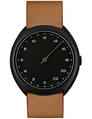 slow O 11 - Swiss Made one-hand 24 hour watch - Black with brown leather band