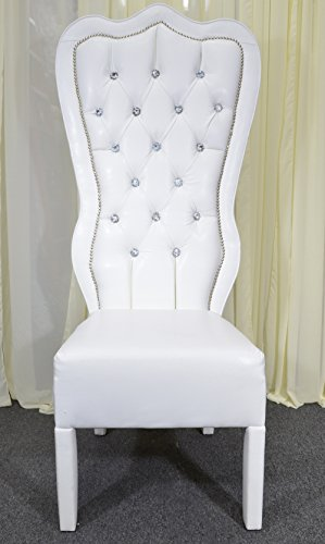 American Home Design White Baroque Throne Chair Snow White Vinyl with Crystal Buttoning ()