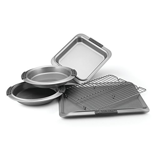 Anolon Advanced Nonstick Bakeware 5-Piece Bakeware Set with Silicone Grips, Gray (Anolon Cookie Sheet Silicone)