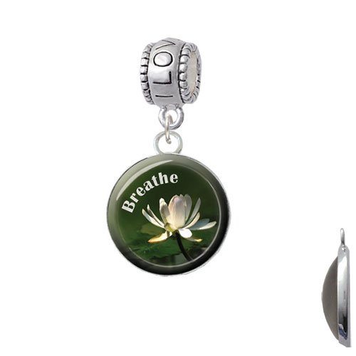 Silvertone Domed Breathe with Lotus - I Love You Charm Bead by Delight Jewelry (Image #2)
