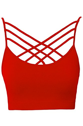 TheMogan Women's Rmovable Pad Cage Bustier Bra Top Strappy Bralette Red L/XL