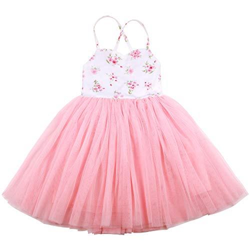 Flofallzique Vintage Girls Dress Easter Special Occasion Tulle Princess Toddler Spring Dress (7, Pink)