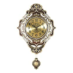 Unbne Pendulum Wall Clock with Antique Heirloom Style - Vintage and Elegant Home Decoration - Battery Operated, 20 Tall Wall Décor with Character