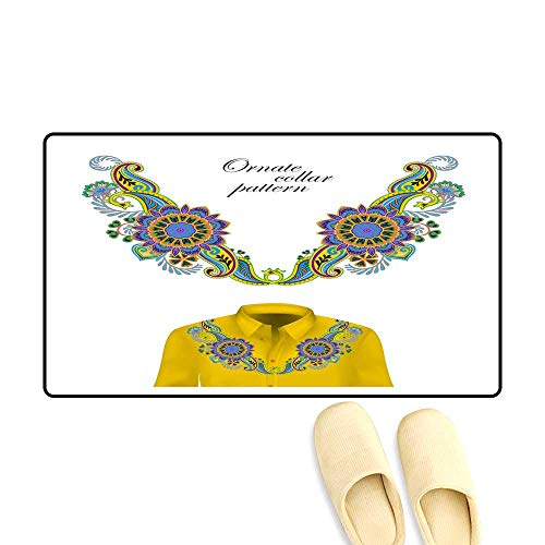 - doormatOriental Ornament with Paisley and Fantasy Flowers Vector Design for Collar Shirts Blouses Vector Illustration Trendy Colors Summer 2018 Outdoor Doormat 40x60cm