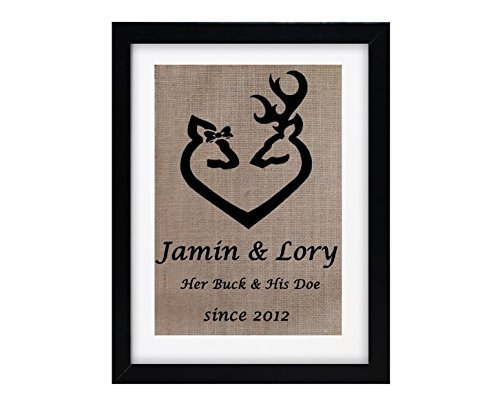 Personalized Burlap Print Monogrammed Wall Art Buck Doe Deer Love with name sign picture silhouette decor wedding housewarming