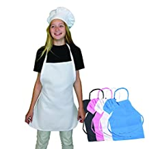 Kids Chef Hat and Kids Apron Set. Adjustable Hat. Fits Childs Size Medium 6-12. White - Chefocity