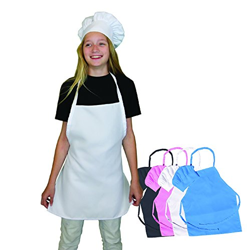 Kids Apron and Chef Hat Set - White Kids Chef Hat and Kids Apron are Adjustable. Fits Children Size Medium 6-12. Great Aprons for Kids Baking Sets. Free Childrens Baking Recipe eBook. -