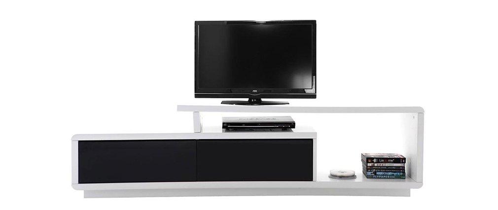 Miliboo - Mobile TV Design Lacquered Black and White Davy: Amazon ...