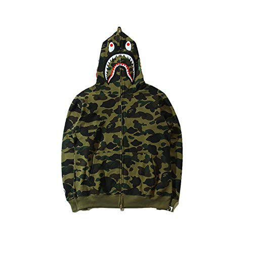 Fashion Shark Zip Hoodie Sweatshirt Mens bape Hoodies Sweatshirt Fashion Casual Coat Outdoor Hip-Hop Funny Tops (Camo3, S)