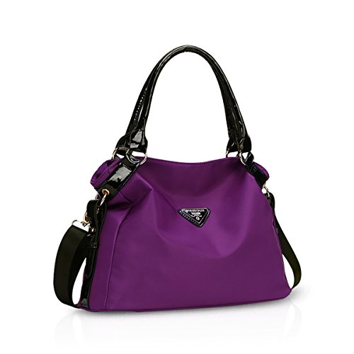 NICOLE&DORIS Nuevo Bolsos de Mano para Bolso Crossbody Mujer Grande Bolso de Bandolera Nylon Negro Púrpura A