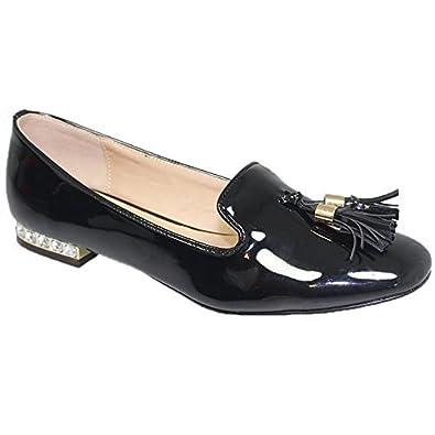 Zafiro Boutique flc077 Glenda Sin Cordones pedrería tacón en Bloque Charol Borla Zapatos Mocasines - Negro, 6 UK: Amazon.es: Zapatos y complementos