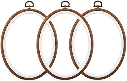 Celley Embroidery Hoops, Oval Imitated Wood Design, 7.1 X 9.8 Inches, 3 Pcs