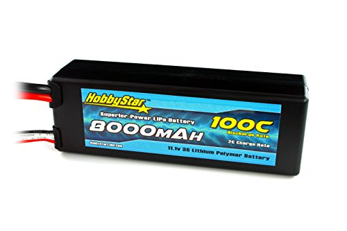 HobbyStar 8000mAh 11.1V, 3S 100C Hardcase LiPo Battery - Tra