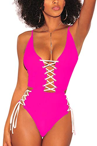 - Almaree Criss Cross Swimsuits for Women Plunge Lace Up Open Back Swimwear Rosy L
