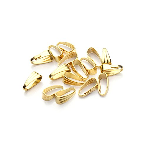 Linsoir Beads Pinch Clip Clasp Bail Metal Finish Necklace Clasps Pendant Clasps 200pcs/lot 4mmX8.5mm Gold Plated
