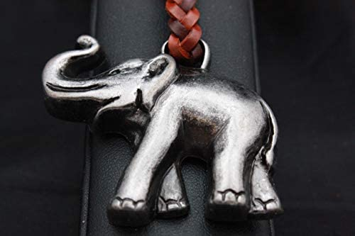 Llavero Cuero trenzado Elefante de la Suerte en Zamak Cromo ...