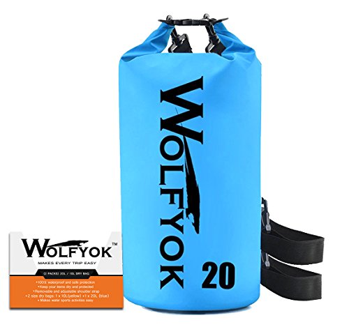 20l Dry Bag (20L Dry Bag - Wolfyok Waterproof Roll Top Duffel Bag with Adjustable Shoulder Strap Keeps Gear Dry for Kayaking, Boating, Swimming, Rafting, Hiking, Camping, Fishing and Snowboarding)