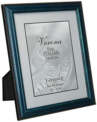 Lawrence Frames Blue Wood 8x10 Picture Frame - Gold Bead Design