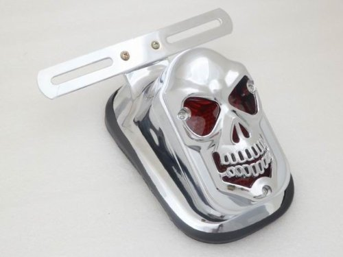 Price comparison product image Motorcycle Skull LED Rear Tail Light Mount Plate for Harley Yamaha Classic Bikes MOTORCYCLE SKULL LED INTEGRATED REAR TAIL LIGHT SIDE MOUNT PLATE FOR HARLEY