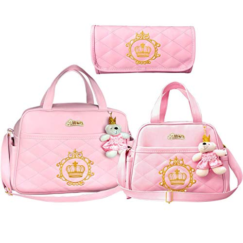 Kit bolsas Bebê Maternidade Luxo 3 peças Rosa Bebê com Dourado e Coroa Princesa - BBkits.