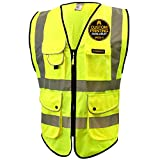 KwikSafety SUPERIOR | Class 2 Economy Safety Vest | 360° High Visibility Reflective ANSI Compliant Work Wear | Hi Vis Yellow 9 Pockets Heavy Duty Zipper | Men Women Regular to Oversized Fit | Medium