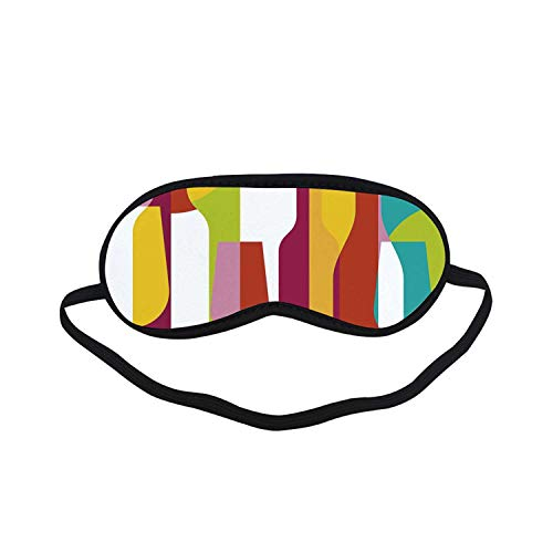Wine Fashion Black Printed Sleep Mask,Colorful Abstract Wine Bottle Glass Silhouettes Modern Party Drinks Geometric Design Decorative for Bedroom,7.1