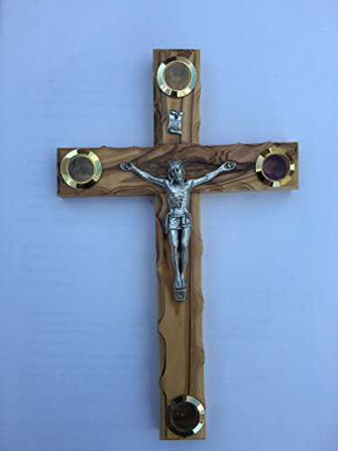 Handmade Olive Wood Standing Cross Crucifix with 4 Lens From Holy Land 9.8