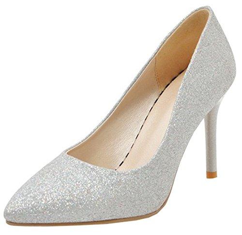Idifu Mujeres Con Estilo Glitter Slip On Low Top Low Cut High Stiletto Con Tacón Puntiagudo Bombas Zapatos Plata