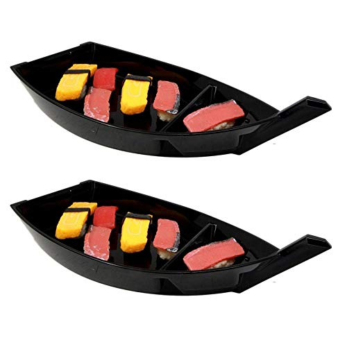 Set of Six Japanese Black Lacquered Plastic Sushi Boat Serving Plate Display Dining F3