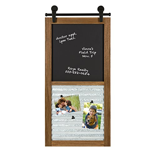 Magnetic Message Clip - Kate and Laurel - Sugarbrook Wood Framed Chalkboard and Clip Collage Wall Organizer and Message Center with 6 Magnetic Clips, Rustic Brown 17 x 34.5