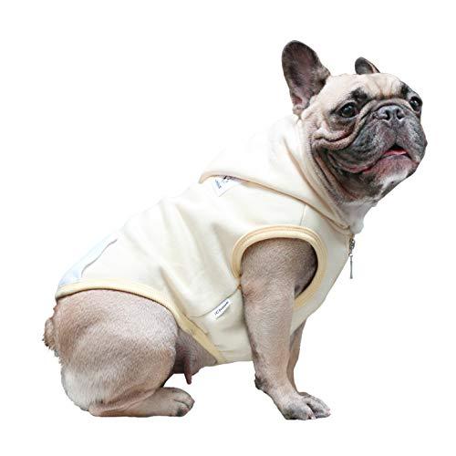 iChoue Pet Clothes Dog Hoodie Hooded Full-Zip Sweatshirt French Bulldog Pug Boston Terrier Cotton Winter Warm Coat Clothing - Beige/Size L