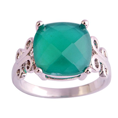 Veunora 12x12mm Cushion Cut Gemstone Solitaire Ring Jewelry for Women