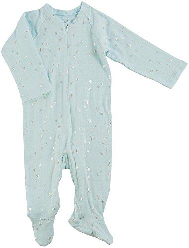 aden + anais Baby Boys Long Sleeve Zipper One-Piece, Skylight-0-3