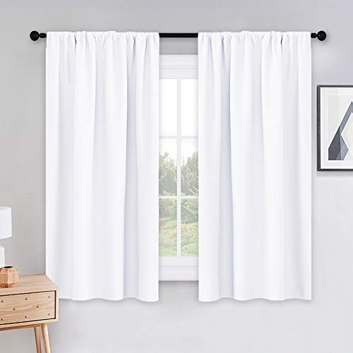 PONY DANCE Curtains 45 inch Length - Window Drapes Double Panels Home Decor Rod Pocket Curtain Draperies for Kitchen & Bedroom Privacy Protect Semi-Blackout, 42 by 45 inch, Pure White, 2 Pieces (Length 45 Curtains)