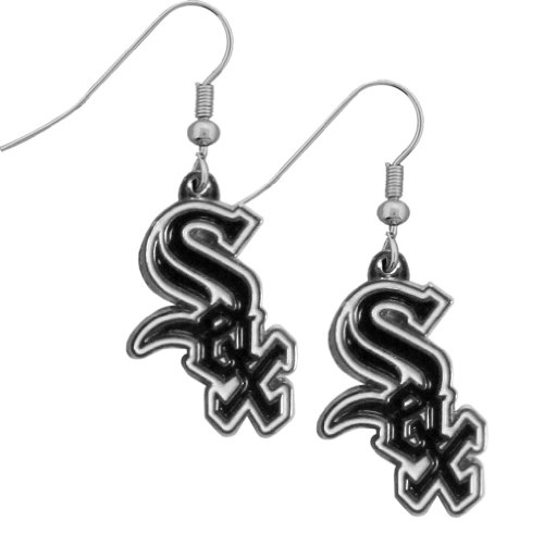 Earrings Sox Dangle (MLB Chicago White Sox Chrome Dangle Earrings)