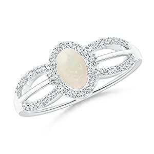 Angara Floating Oval Opal Triple Split Shank Engagement Ring