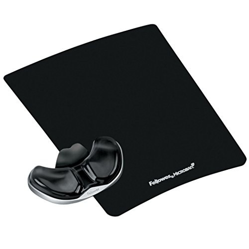 Fellowes Gliding Palm Support with Microban Protection, and Mouse Pad, Gel, Black (9180701)