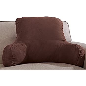 Microsuede Bedrest Pillow Brown Best Bed Rest Pillows with Arms for Reading in Bed