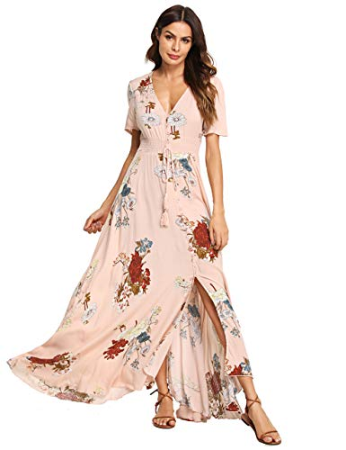 Milumia Women's Button Up Split Floral Print Flowy Party Maxi Dress X-Small Pink (Dresses For Engagement Women)