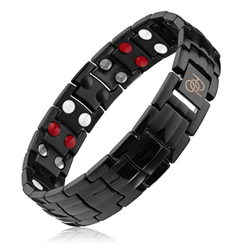 4000 Gauss Titanium Magnetic Therapy Bracelet to Help Relieve Wrist and Hand Pain Inflammation for Men's and Women's Computer Use, Golf, Tennis, Sports | Exact Length: 8.18