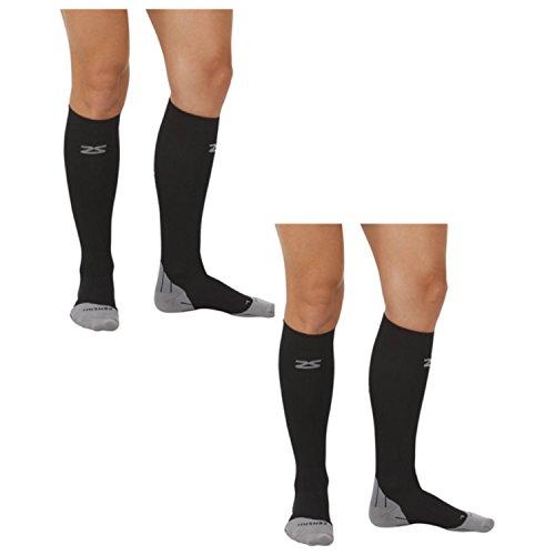 Zensah Tech+ Compression Socks - Black - Medium 2 Pack