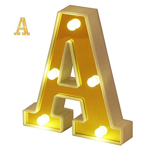 Samapet A LED Marquee Letter Lights Sign 26 Alphabet Light Up Marquee Letters Sign for Night Light Wedding Birthday Party Battery Powered Christmas Lamp Home Bar Decoration ()