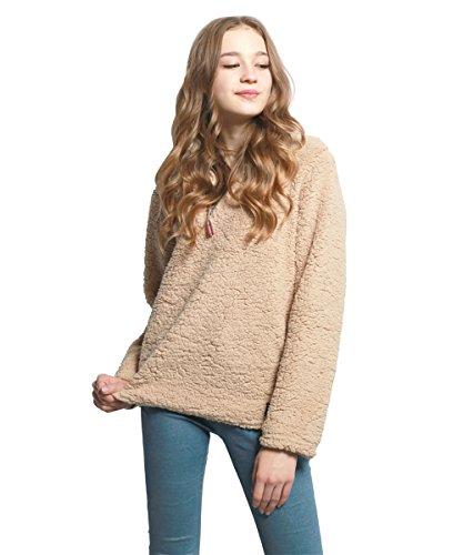 FOURSTEEDS Womens 1/4 Zip Fleece Sherpa Pebble Pile Fuzzy Unisex Sweatshirt Pullovers Winter Coat Light Coffee S ()