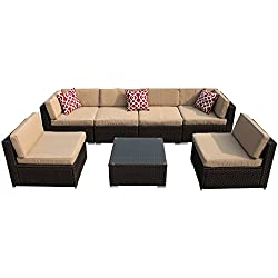 PATIOROMA 7pc Outdoor PE Wicker Rattan Sectional Furniture Set with Beige Seat and Back Cushions, Red Throw Pillows, Aluminum Frame, Espresso Brown
