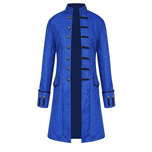 H&ZY Men Steampunk Vintage Jacket Halloween Costume Retro Gothic Victorian Frock Coat Uniform Blue]()