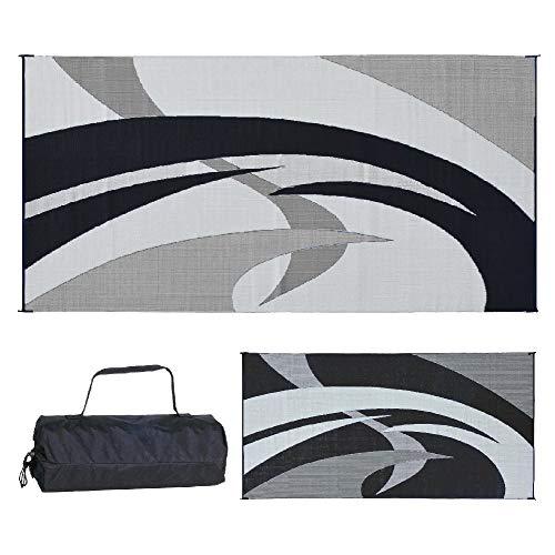 - Reversible Mats 159181 Black & White Swirl Pattern Mat 9-Feet x 18-Feet (Renewed)
