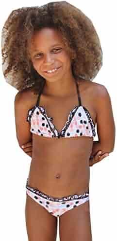 2f2cb4d7d2 Azul Little Girls Pink Black Dot Save My Spot Triangle 2 Pc Swimsuit 4-6