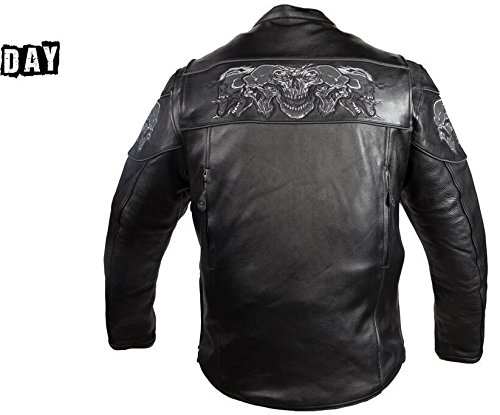 Dream Men's Motorcycle Riding Blk Reflective Skull Leather Jacket Big Sizes Upto 10xl (6XL Regular) by Dream (Image #4)'