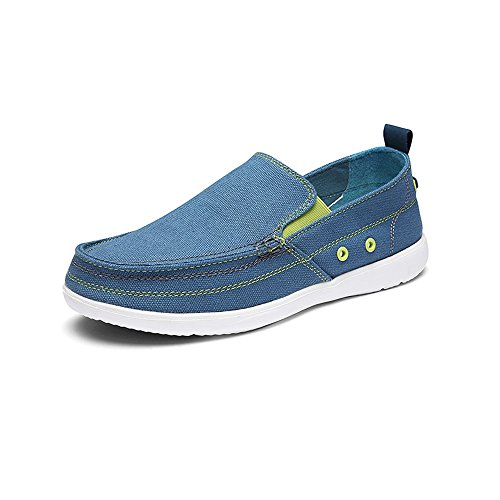 Walking Outdoor Mens On VILOCY Shoes Casual Canvas Light Loafers Driving Slip Blue Sneakers Lightweight 84fp06qf